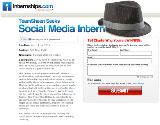 Charlie Sheen Social Media Internship