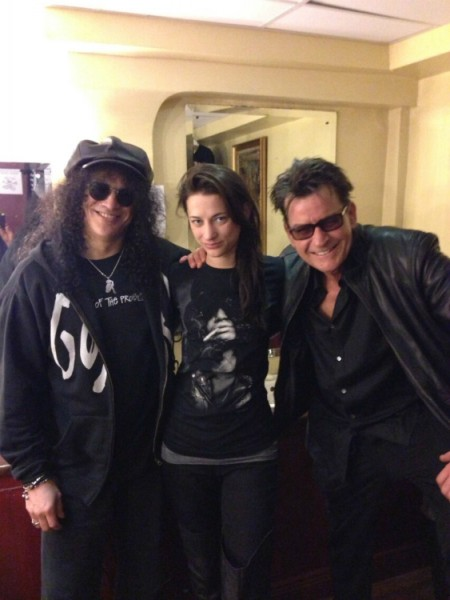 Georgia Jones with Slash and Charlie Sheen